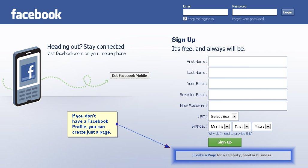 create a facebook profile